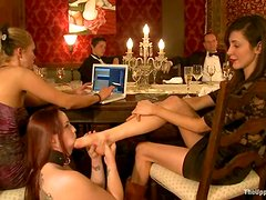 Bella Rossi and Cherry Torn get fucked in public during a banquet