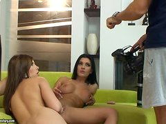 Hot Lesbian Sex with Honey Demon and Donna Bell in Backstage Vid