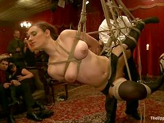 Two amazing girls get tied up and pounded at a private party