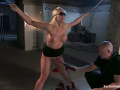 Hogtied blondie Holly Heart gets jizzed in her mouth