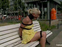 Tied up blonde hottie gets fucked in a bus in public