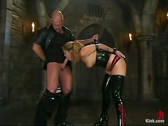 Sassy siren in latex is being tortured and drilled