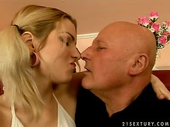 A licentious man is enjoying Skyler's tongue