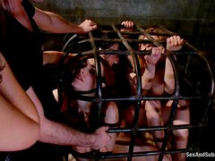 Two cute girls get tied up and fucked like never before in BDSM vid