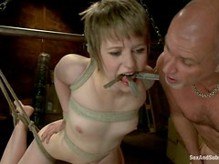 Petite Alani Pi gets clothespinned, tied up and fucked