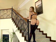 Black stockings and tight pussy is what Renata got