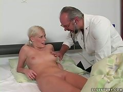 Sexy Lolly Blond gets fucked hard and deep by old doctor