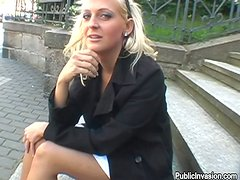 Nikol the horny blonde lifts her up and gets fucked outdoors