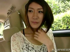 A cute Asian housewife goes to a stranger's car...