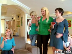 Naughty girls suck dicks and get fucked at the home party
