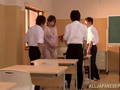 Chubby milf Mayu Koizumi gets fucked by two men indoors