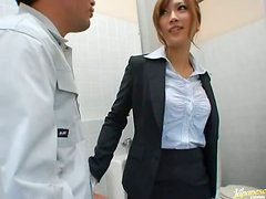 Japanese office girl sucks a cock and gets fucked in a toilet