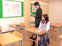 Cute Japanese babe gets fucked nice in a classroom