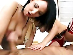 Charlotte Flame fills her sexy mouth with thick hard cock sucking wildly