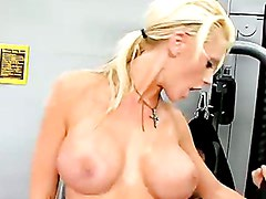 Gorgeous blonde Tanya James gets fucked and cummed in the gym