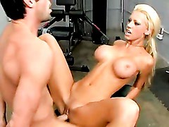 Stunning blonde cutie Tanya James gets nailed hard in the gym