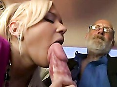 Hot blonde Kacey Jordan blows an amazing monster cock inside the car