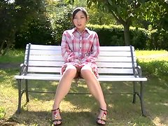 Japanese sweetie gives a nice blowjob to a stranger in the park