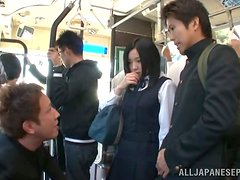 Nasty girl Airi Minami plays with a stranger's dick in a bus