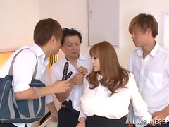 Busty Japanese bitch Maria Yumeno enjoys a gangbang indoors