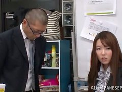 Sexy Japanese girl strips her clothes off in the office