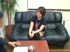 A gorgeous Asian teen has her holes opened by the interviewer