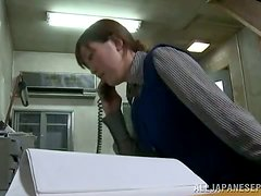 This slutty office babe will literally fuck anyone