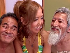 Old men are double penetrating a kinky Asian Teen