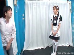 Japanese bitch makes a guy eat her snatch before she sucks his dick