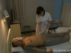 Japanese doctor enjoys hot sex with one of her patients