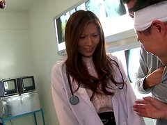 Yuna Shiina the sexy nurse gets fucked in a threesome