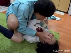 Sexy schoolgirl with a shaved snatch has it cock slammed