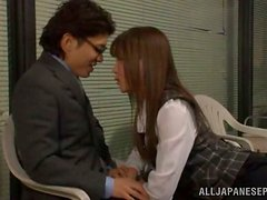 Slim and hot Japanese girl gets pounded in the office