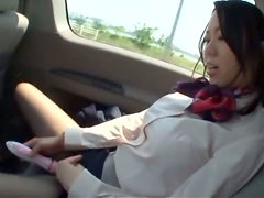 Sexy int eh car with a hot Stewardess Marina Isshiki