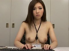 Cute Japanese office girl undresses and gives a blowjob