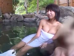 Japanese girl sucks a cock and gets fucked doggystyle in jacuzzi