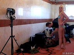 Lena Cova the hot blonde gets threesomed in a backstage video
