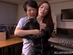 Julia unzips her leather overall to get her pussy drilled