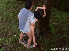 Petite maid Tsubomi  gets balled in the forest