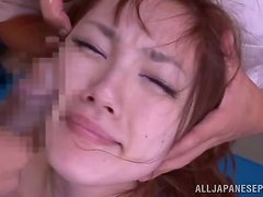 This Asian babe loves being groped by several guys