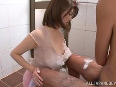 Naughty Mio Takahashi pleases a guy in a bathroom