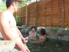 Sexy Japanese girl gets fucked doggystyle in outdoor jacuzzi