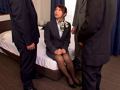 Yuuna Takizawa the Hot Stewardess sucks three dicks