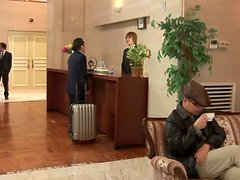 Mio Kitagawa the sexy hotel worker gives a blowjob