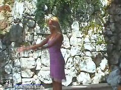 Backstage of a Solo Masturbating Outdoors Session with Blonde and Toy
