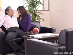 No more secretary work as she devours the boss' dong.