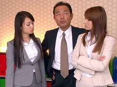 Japanese cutie gets naughty with her boss in an office