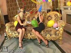 Dana and Sophie Moone have lesbian sex at the New Year party
