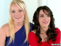Natalie Heart and Zoey Paige suck a prick before jumping on it