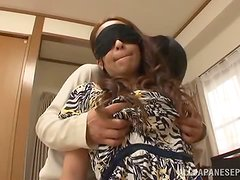 Blindfolded Asian babe likes fucking mysterious guys